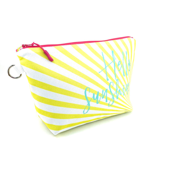 hello sunshine recycled canvas makeup pouch