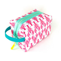 pink lobster square toiletry bag