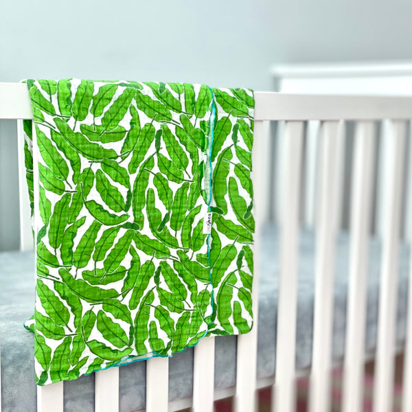 Banana Leaves Organic Cotton Muslin Baby Blanket