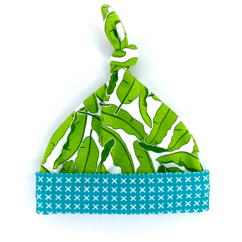 Banana Leaves Organic Cotton Knit Swaddle Blanket & Hat Set