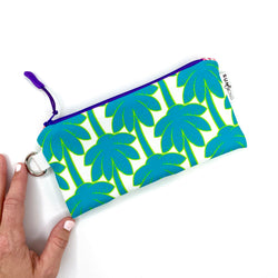 turquoise palm tree recycled canvas pencil pouch