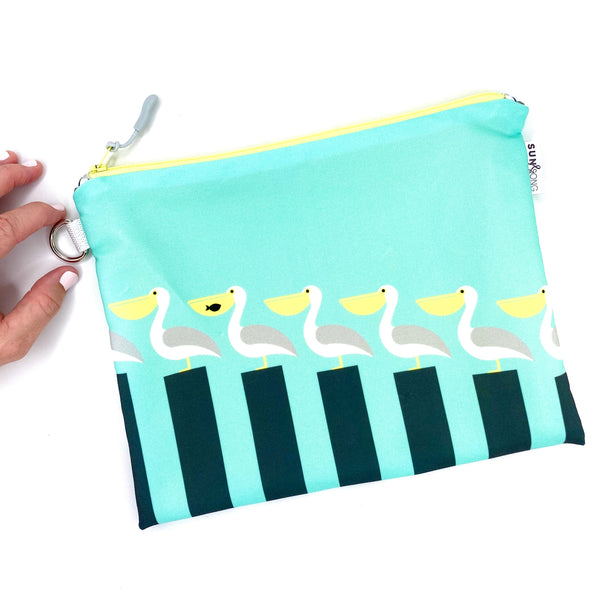 aqua pelican on piers recycled canvas waterproof zipper pouch