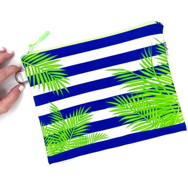navy stripe and palm frond recycled canvas tropical wet bag