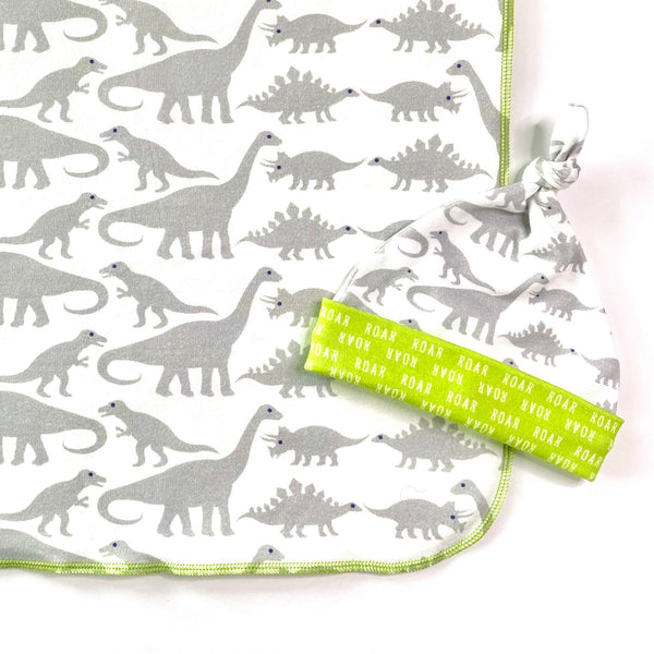 grey dinosaur organic cotton swaddle and hat set
