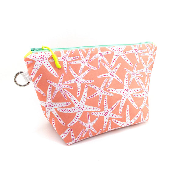 coral starfish waterproof makeup bag
