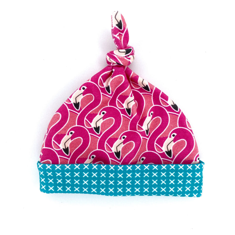 Pink Flamingo Organic Cotton Knit Swaddle Blanket & Hat Set