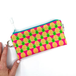 pink aloha pineapples wristlet pencil pouch