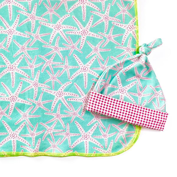 aqua starfish organic cotton newborn baby blanket