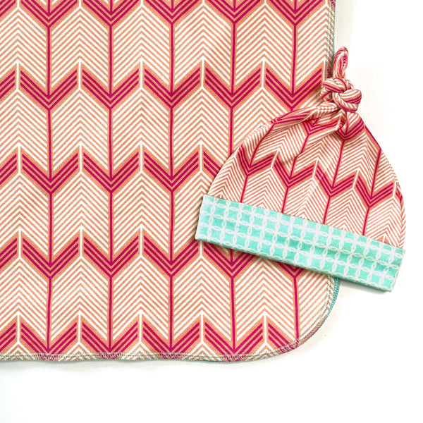 coral chevron arrow baby girl shower gift