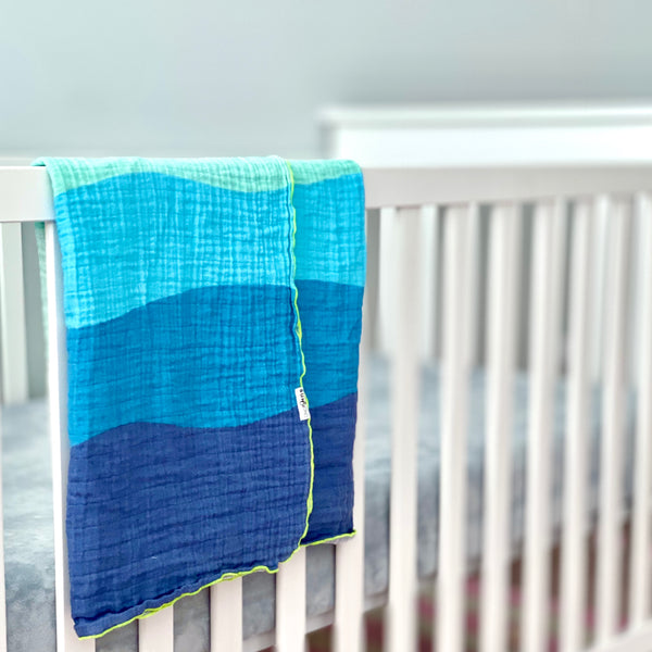 Blue Waves Organic Cotton Muslin Baby Blanket