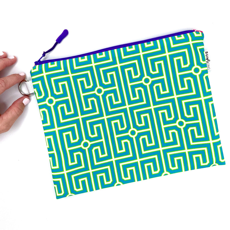 blue and green geometric greek key waterproof zipper pouch