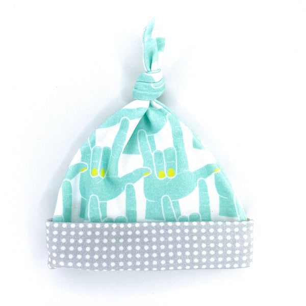 aqua ASL love sign newborn cotton hat