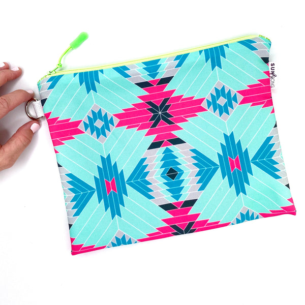 pink geometric aztec waterproof zipper pouch