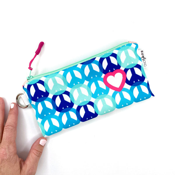 blue peace and love wristlet bag gift for girls