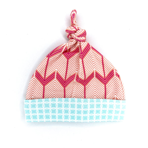 coral chevron arrows organic cotton baby hat