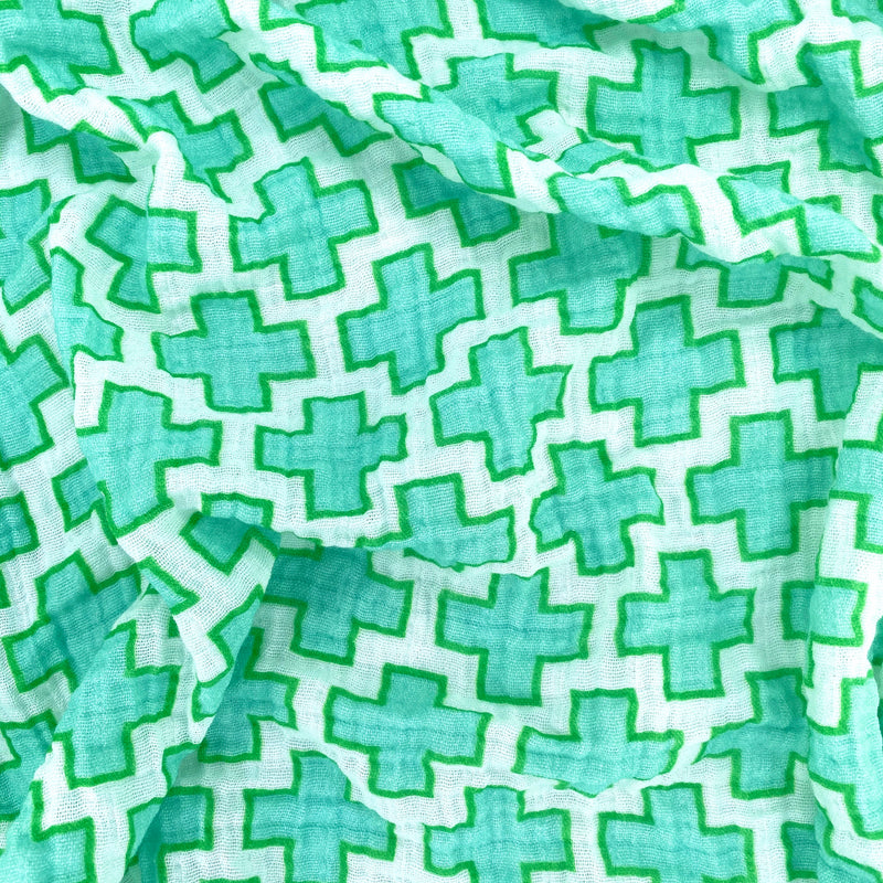 Aqua Swiss Cross Organic Cotton Muslin Baby Blanket