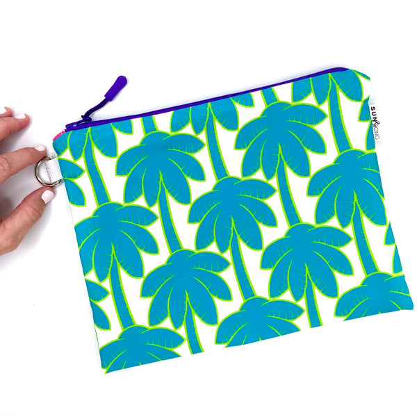 turquoise palm trees waterproof wet bikini bag