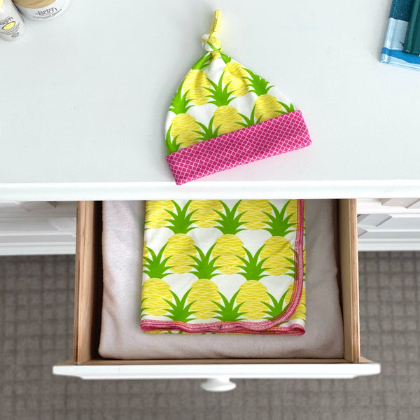 Aloha Pineapples Organic Cotton Knit Swaddle Blanket & Hat Set