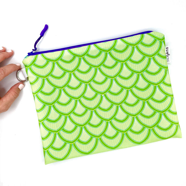 green fish scales waterproof zipper pouch