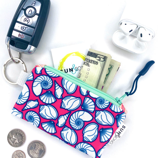 Pink Seashells Key Chain Wallet