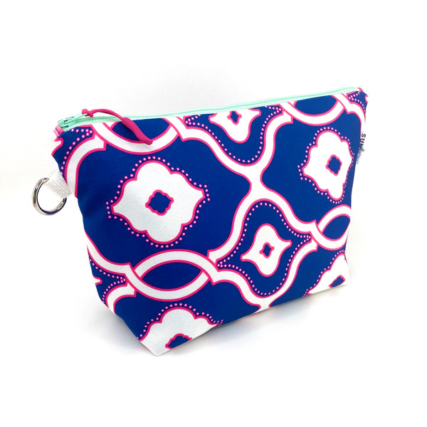 navy pink modern geometic chain makeup bag