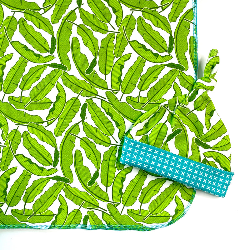 banana leaf tropical organic cotton swaddle and hat