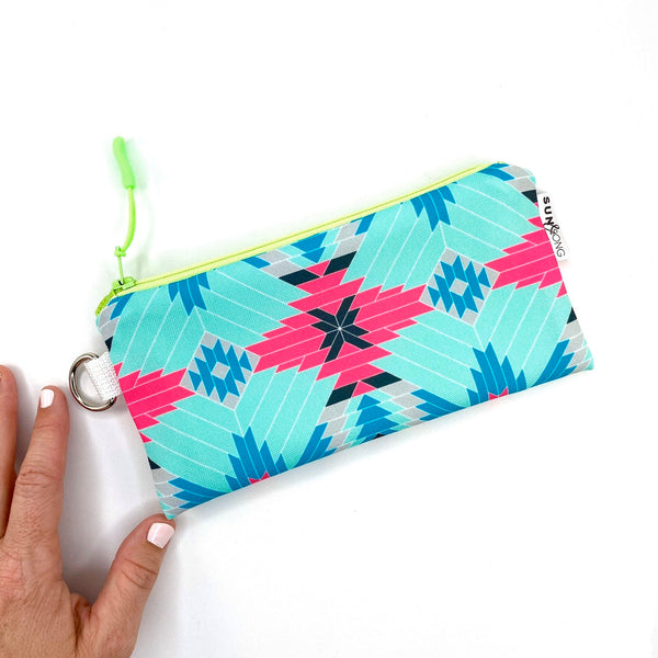 aqua pink aztec recycled canvas wristlet zipper pouch