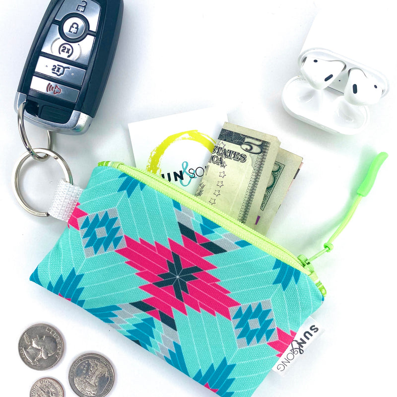 Pink Aztec Key Chain Wallet
