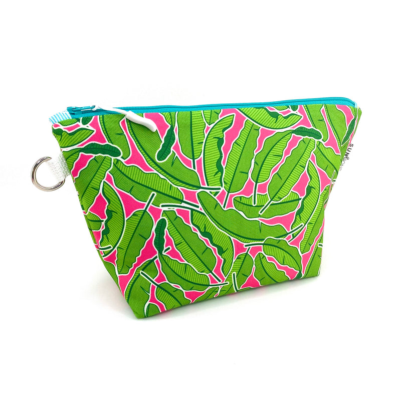 pink banana leaf recycled canvas makeup bag