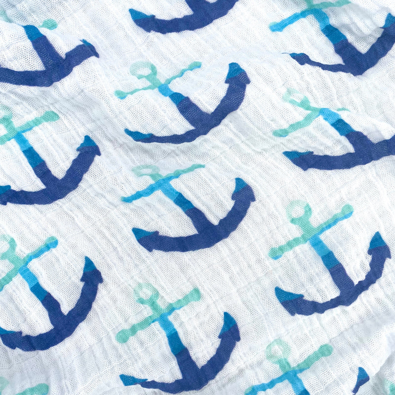 Blue Anchors Organic Cotton Muslin Baby Blanket