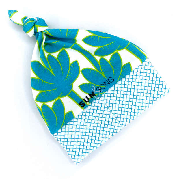 Turquoise Palm Trees Organic Cotton Knit Baby Hat 1
