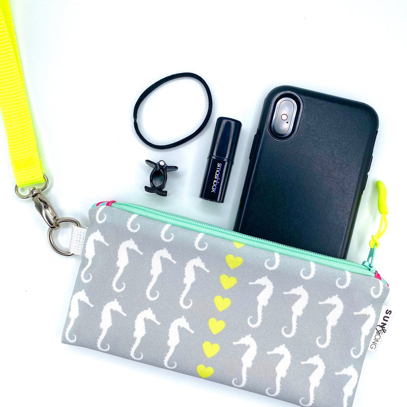 Grey Seahorse Love Pencil Case