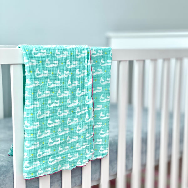 Aqua Mermaids Organic Cotton Muslin Baby Blanket