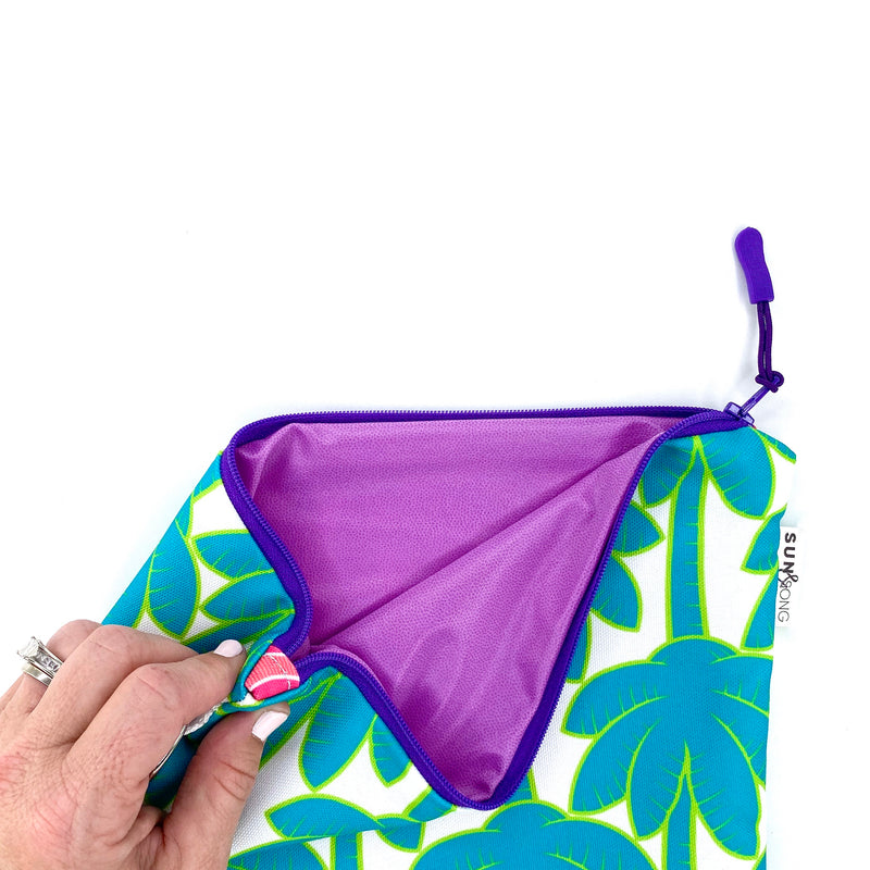Turquoise Palm Trees Wet Bag