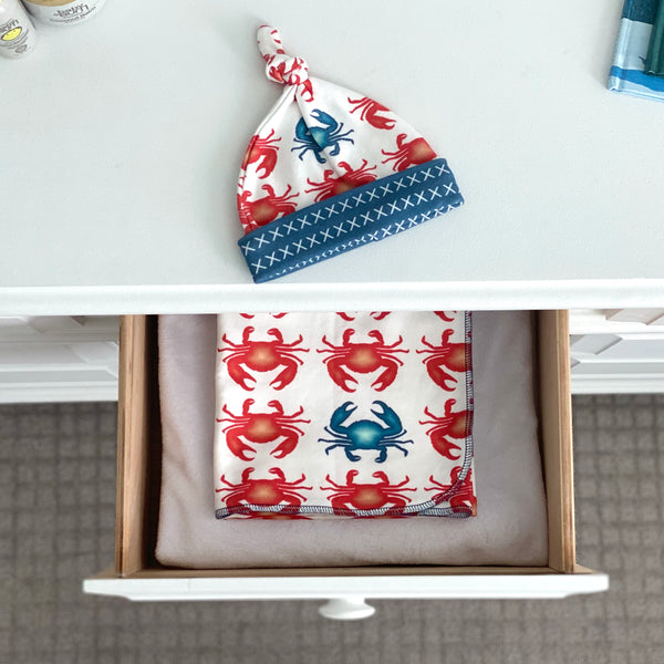 Red Crabs Organic Cotton Knit Swaddle Blanket & Hat Set