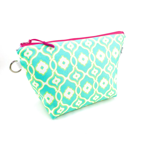 aqua yellow ornamental waterproof makeup bag
