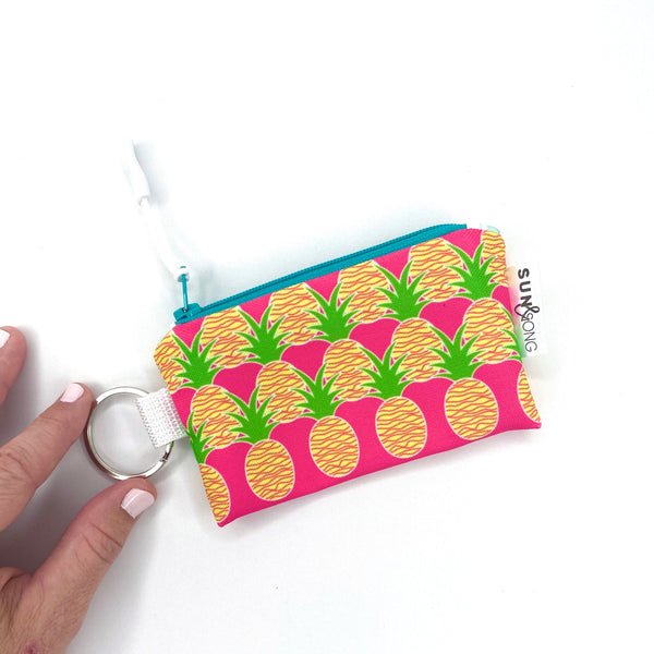 pink aloha pineapple key chain coin purse