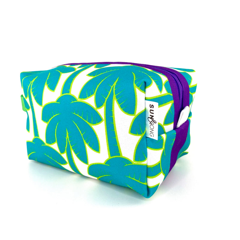 Turquoise Palm Trees Boxy Toiletry Bag