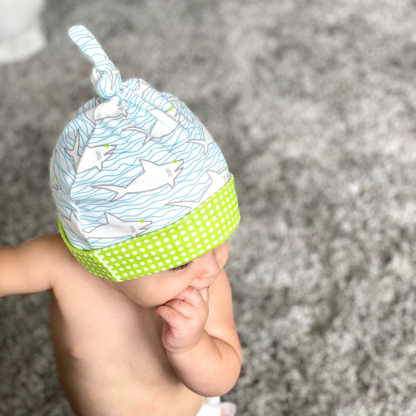 Sharks & Waves Organic Cotton Knit Baby Hat
