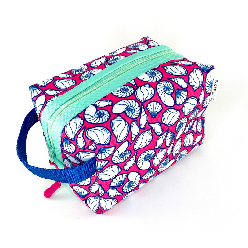 pink seashell beach girl travel toiletry kit