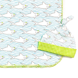 sharks waves soft cotton baby boy swaddle and hat