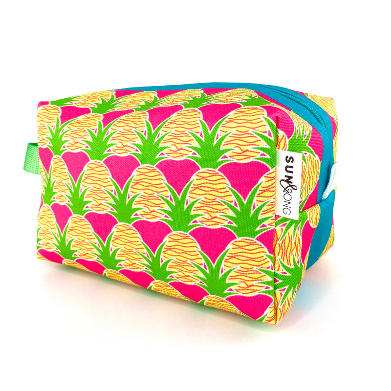 Pink Aloha Pineapples Boxy Toiletry Bag