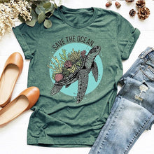 Load image into Gallery viewer, Women's Save The Ocean Sea Turtle T shirt
