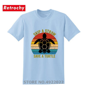 Men's Skip A Straw Save A Turtle T Shirt