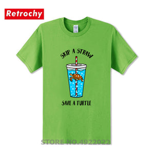 Mens Skip A Straw Save A Turtle T Shirt