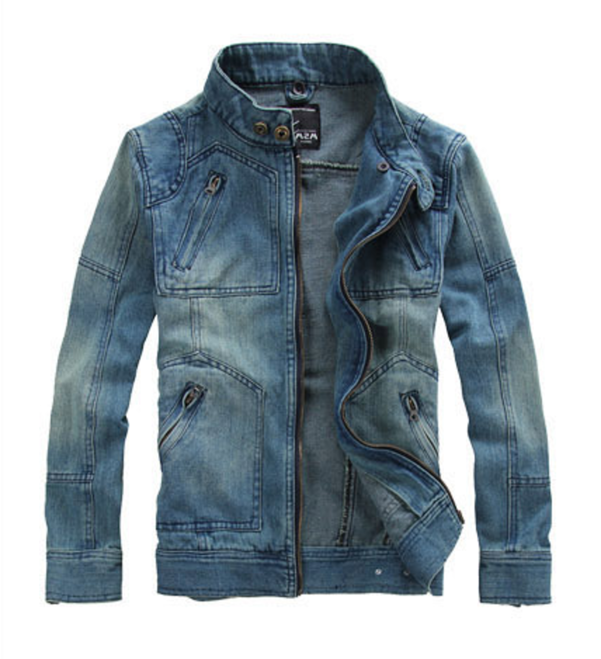 Mens Denim Jean Jacket with Removable Hood