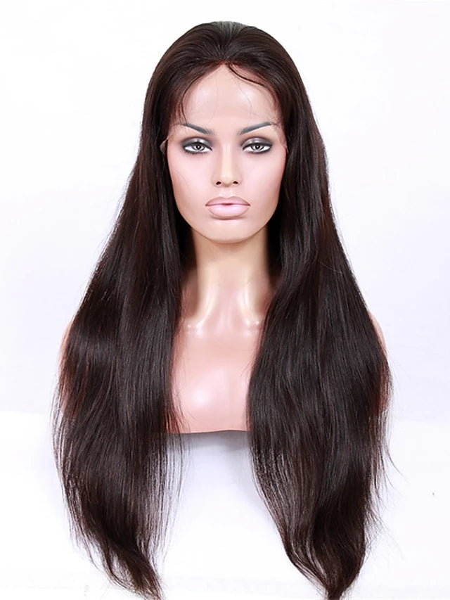 Virgin Human Hair Glueless Lace Front Lace Front Wig style Brazilian Hair Straight Wig 130% 150% 180% Density with Baby Hair African American Wig Women's Short Medium Length Long Human Hair Lace Wig