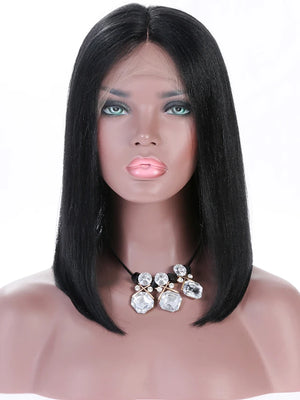 Remy Human Hair Lace Front Wig Bob style Brazilian Hair Yaki Straight Wig 130% 150% 180% Density