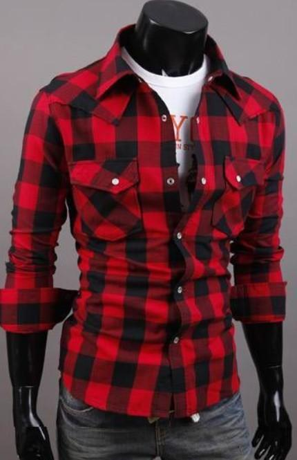 Mens Long Sleeve Button Down Plaid Shirt
