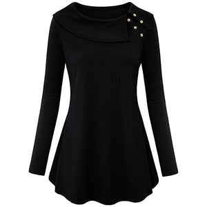 Women spring Fashion Long Sleeve Cowl Neck Tunic Top